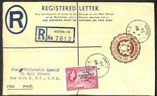 GHANA SCOTT #8 STAMP H&G #2 REGISTERED LETTER STATIONERY TO USA 1958