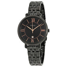 Fossil Jacquline Black Dial Black Ion-plated Ladies Watch ES3614