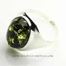 GREEN BALTIC AMBER 925 STERLING SILVER RING SIZE 9