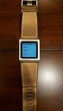 Apple iPod nano 6th Generation Silver (8GB) with leather watch band