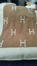 """Luxe Hermes """"H"""" Avalon Blanket Throw Color In the Rich Beige Brown- 41x58"""