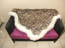 Luxury Lynx Fur Throw 100% Real Lynx Blanket Genuine Beadspread With Fox Outline