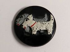 Vintage Black Glass Button - Scotty Dogs, Painted Finish
