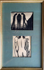 """Original signed CHARLES BLACKMAN Charcoal """"Three Graces"""" 2 drawings framed as 1"""