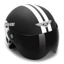 Casque de moto scooter réglable Casque jet Noir à cinq étoiles Taille moyen