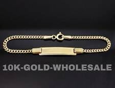 NEW 10K YELLOW GOLD PERSONALIZED BABY I.D. NAME CUBAN  KIDS CHILD  BRACELET 3699
