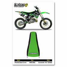 1999-2002 KAWASAKI KX 125-250 Black/Green PLEATED SEAT COVER BY Enjoy MFG
