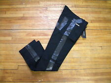 DOLCE & GABBANA RARE RUNWAY BLACK TOXIDO DENIM & PVC STRIPES 12 SLIM JEANS 46 30