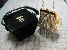 LOT-2) VINTAGE 1950s PURSES *WHITING & DAVIS GOLD MESH EVENING & Blck VELVET BOX