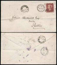 SCOTLAND 1874 RAILWAY TPO THIMBLE EDINR M STRUCK FRONT + BACK..LANARK to PEEBLES