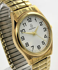 Philip Mercier Gents Stainless Steel Goldtone Expander Bracelet Watch BIG Number