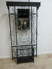 Wrought Iron French Regency Hall Rack Clothes Tree Umbrella Stand Mirror Console