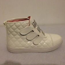 LADIES WOMENS ANKLE HIGH WHITE QUILTED DIAMANTE VELCRO SNEAKERS TRAINERS SIZE 4