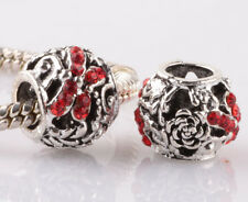 NEW 2pcs silver dragonfly red CZ spacer beads fit Charm European Bracelet #D965