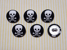 6 Black with White Skull Fabric Covered Buttons - 20mm
