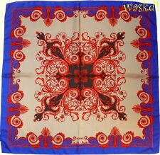 VERSACE khaki & red with Royal Blue BAROQUE Border silk Large scarf NEW Authentc
