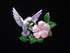 """JJ"" Jonette Jewelry Silver Pewter HUMMINGBIRD Seeking Nectar Pin ~ Pink Flower"