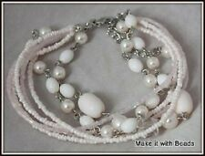 7 Row Pastel Pink Beads Bracelet with Lobster Clasp & Extension Chain