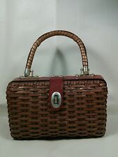 Vtg MOD 50-70's Leather Plastic STRAW Basket Weave Handbag LTD Purse Pocketbook