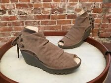 Fly London Taupe Perforated Nubuck Yull Peep-toe Wedge Bootie 37 7 NEW