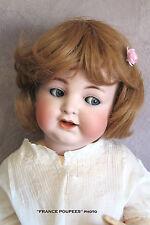 """perruque blond foncé35/37cm poupon poupée ancienne-moderne-doll wig head sz14.5"""""""