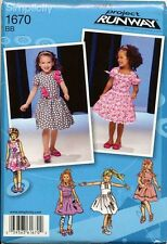 SIMPLICITY SEWING PATTERN 1670 TODDLERS/GIRLS SZ ½-3 DRESSES W/ GATHERED SKIRTS