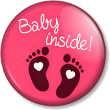 "BABY INSIDE 1"" Pin Button Badge Pregnant Mother Mum to Be Shower gift cute pink"