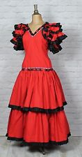 Vintage Dress Gown 80s Retro Victorian Style Evening Wedding Party Flamenco UK14