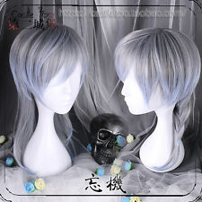 Lolita Man's Blue Mix Gray Gradient Short Hair Wig Unisex Cospaly Hairpiece