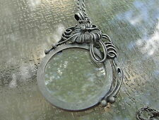 Art Nouveau Pewter Look Magnifying Glass on Long Chain