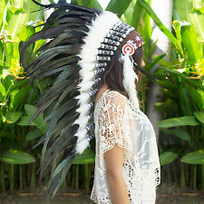 Free Shipping! Indian Headdress - Native American - Long - Black Rooster