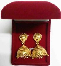 "Indian Bollywood Jhumka Jhumki Wedding Party 24K Goldplated Earrings Set 4"" Long"