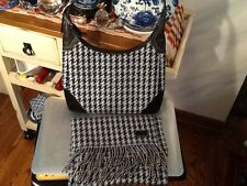 COACH F10279 Hobo Houndstooth tricot suede shoulder bag with matching scarf