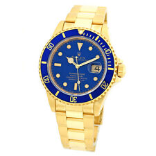 ROLEX 18K Yellow Gold 40mm Submariner Date Blue 16618 Box Warranty Papers MINTY