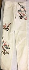 Topshop Flower Embroidered High Waste Pants Size 28
