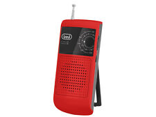 Small Portable Battery FM AM Radio • Belt Clip & Stand • with Earphones • Red