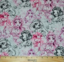 DISNEY PRINCESS SKETCH FABRIC~RETIRED~HTF! 1/2 YARD BELLE~ARIEL~JASMINE~RAPUNZEL