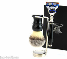 Vintage Luxury Shaving Kit(Synthetic Hair Brush,Gillette Fusion,Steel Stand)