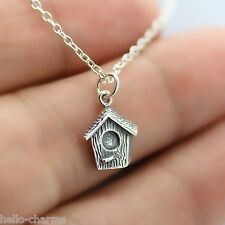 BIRDHOUSE NECKLACE - 925 Sterling Silver - Bird House Swallow Charm Sparrow NEW