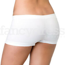 White Ladies Boyshorts Leg Avenue Seamless Opaque Fancy Dress Halloween NEW
