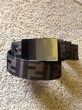 AUTHENTIC FENDI ZUCCA SILVER SQUARE PLAQUE  BELT 110/43 SIZE 37