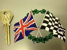 Crossed Union Jack Flag & Chequered & GARLAND sticker
