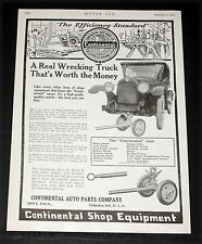 1919 OLD MAGAZINE PRINT AD, CONTINENTAL, A WRECKING TRUCK THATS WORTH THE MONEY!