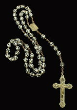 ANTIQUE ART NOUVEAU CLEAR CRYSTAL FACETED SILVER TONE ROSARY BEADS 20""