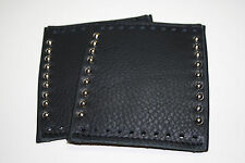 MCD Black Deluxe Padded Leather Grip Covers Vibration Dampening w/ Spot Rivets