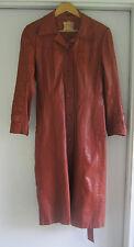Vintage ECHT LEDER Long Leather Trench Coat Brown Size Medium