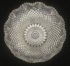 Antique Large Heavy Cut American Brilliant Crystal Bowl 9 Inch Diameter