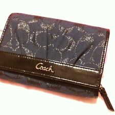 Stunning! COACH Navy BLUE Metallic NEW Jacquard & Leather Wallet Gift Box Patent