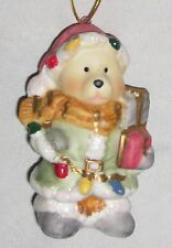 "Brown 3 1/2"" Bear Ornament Figurine Dressed in Green w Gifts mg"