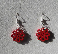 SMALL RED LASER CUT WOOD FLOWER SILVER PLATED DROP EARRINGS